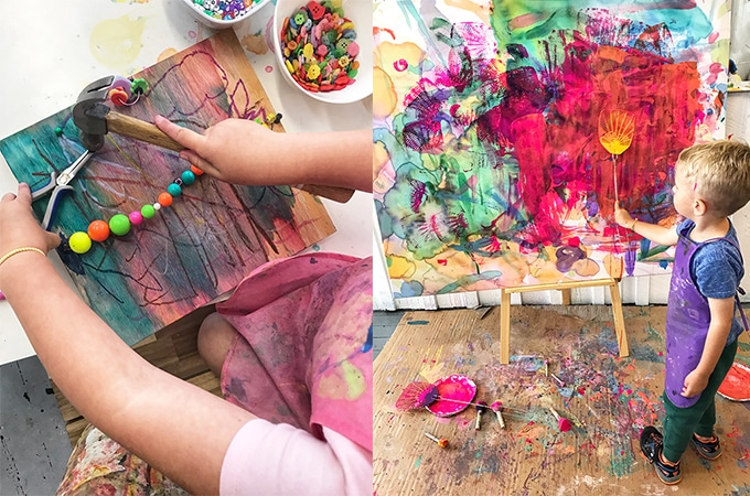 Wood creations project and child painting with fly swatter at evolving canvas.