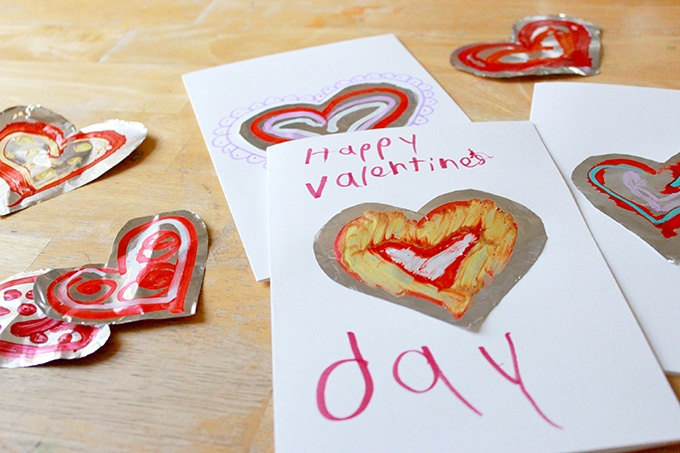 Valentine's Day cards made with decorated foil hearts