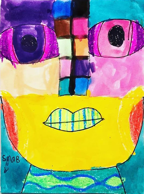 Abstract portraits for kids with oil pastels and watercolor paints